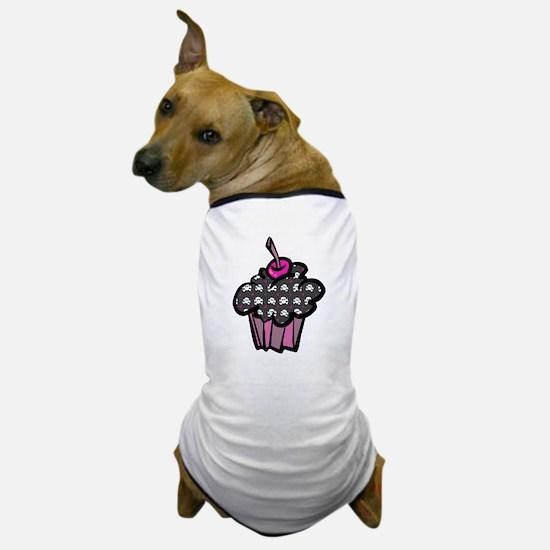 Punk Goth Skull Crossbones Cupcake Dog T-Shirt