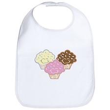 Cute Vanilla Strawberry Chocolate Cupcakes Bib