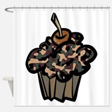 Camo Camouflage Cupcake Shower Curtain