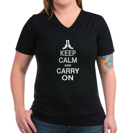 Keep Calm and Carry On Women's V-Neck Dark T-Shirt