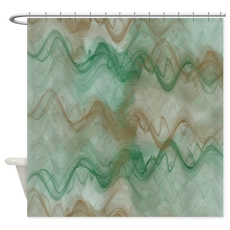 Green And Brown Waves Shower Curtain By Cheriverymery