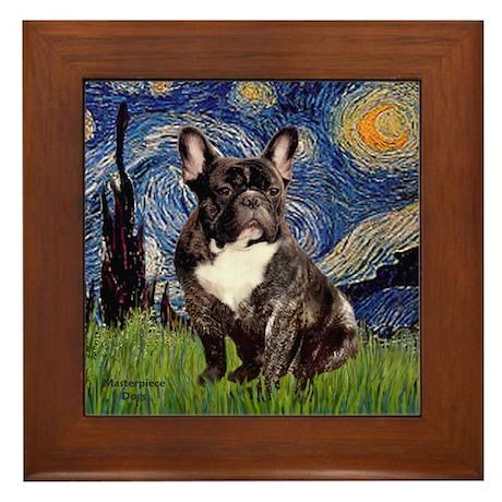 Starry-Brindle French Bulldog Framed Tile
