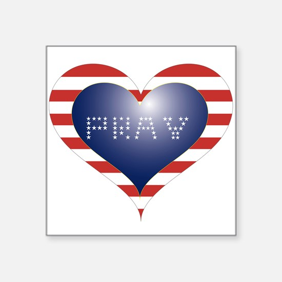 "PRAY HEART Square Sticker 3"" x 3"""