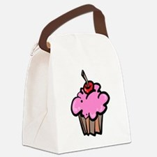 Pink Cupcake with Cherry Canvas Lunch Bag