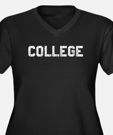 Vintage College Women's Plus Size V-Neck Dark T-Sh