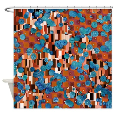 klimtified rust turquoise shower curtain by phantasmdesigns