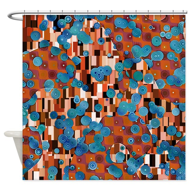 klimtified rust turquoise shower curtain by phantasmdesigns