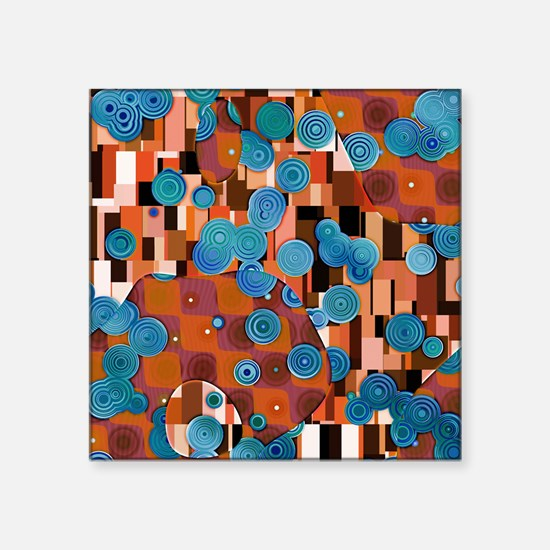 "Klimtified! - Rust/Turquoise Square Sticker 3"" x 3"