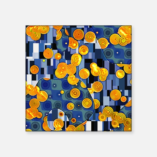 "Klimtified! - Gold/Blue Square Sticker 3"" x 3"""