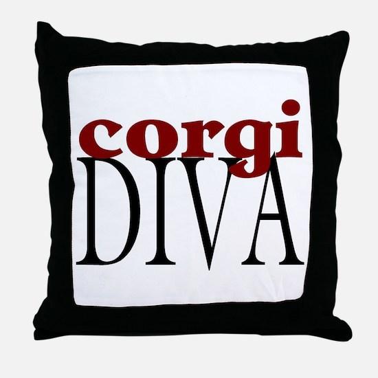 Corgi Diva Throw Pillow