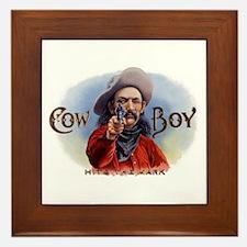 Vintage Cigar Label Art, Cowboy Hits the Mark Fram