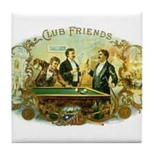 Vintage Cigar Label Art Club Friends Shooting Pool