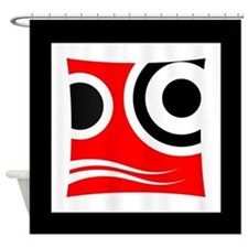 Black Red and White Abstract Design 006 Shower Cur