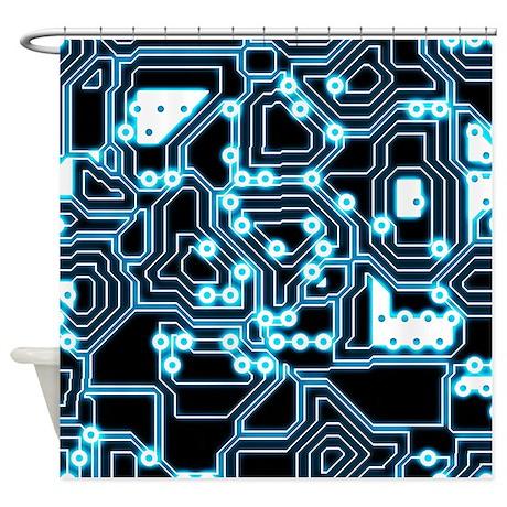Electron Blue Black Shower Curtain By Phantasmdesigns