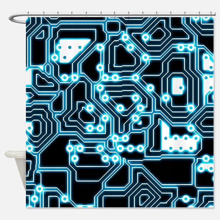 ElecTRON - Blue/Black Shower Curtain