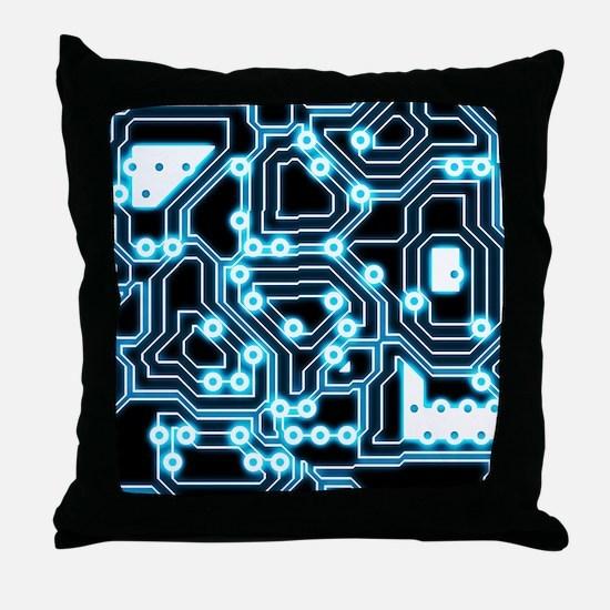 ElecTRON - Blue/Black Throw Pillow