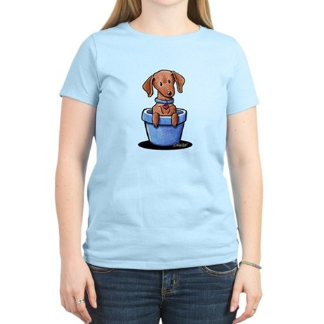 KiniArt Potted Doxie Women's Light T-Shirt