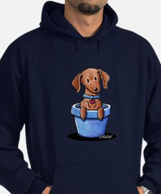 KiniArt Potted Doxie Hoodie (dark)