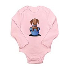 KiniArt Potted Doxie Long Sleeve Infant Bodysuit