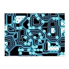 ElecTRON - Blue/Black 5'x7'Area Rug