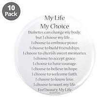 "My Life, My Choice Poem (Black) 3.5"" Button (10 pa"