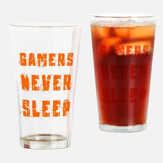 gamers never sleep Drinking Glass