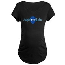 swim life water skull with goggles Maternity T-Shi