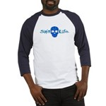 swim life water skull with goggles Baseball Jersey