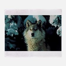 Snow Wolf Throw Blanket
