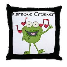 Karaoke Croaker Throw Pillow