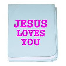 JESUS LOVES YOU 3 baby blanket