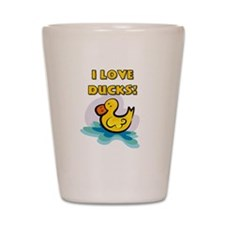 I Love Ducks Shot Glass