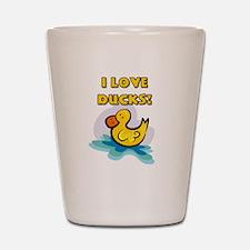 I Love Ducks Shot Glass