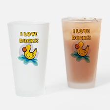 I Love Ducks Drinking Glass