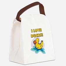 I Love Ducks Canvas Lunch Bag