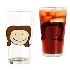 Cute Brunette Sketch Drinking Glass