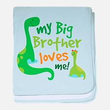 Big Brother Loves Me dinosaur baby blanket
