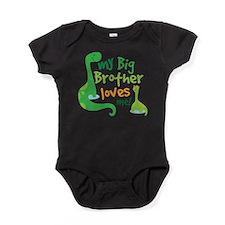 Big Brother Loves Me dinosaur Baby Bodysuit
