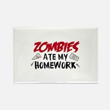 Zombie Ate My Homework Rectangle Magnet