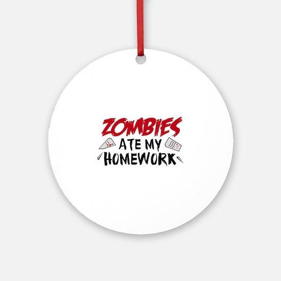 Zombie Ate My Homework Ornament (Round)