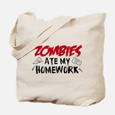 Zombie Ate My Homework Tote Bag