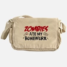 Zombie Ate My Homework Messenger Bag
