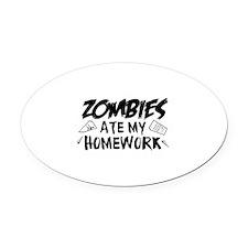 Zombie Ate My Homework Oval Car Magnet