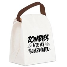 Zombie Ate My Homework Canvas Lunch Bag