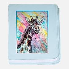 Giraffe, wildlife art! baby blanket