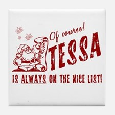 Nice List Tessa Christmas Tile Coaster