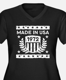 Made In USA 1972 Women's Plus Size V-Neck Dark T-S