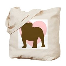 Bulldog Heart Tote Bag