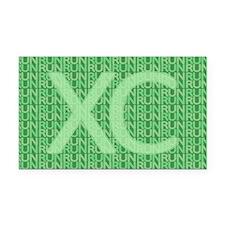 XC Run Run Green Rectangle Car Magnet