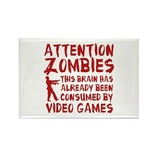 Attention Zombies Video Games Rectangle Magnet